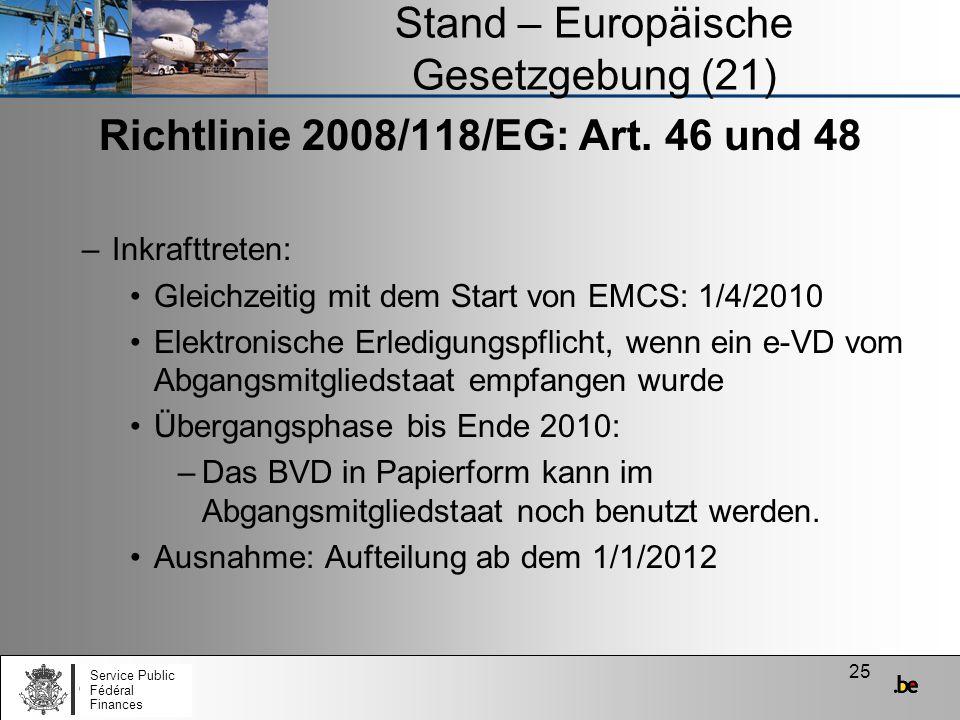 Stand – Europäische Gesetzgebung (21)