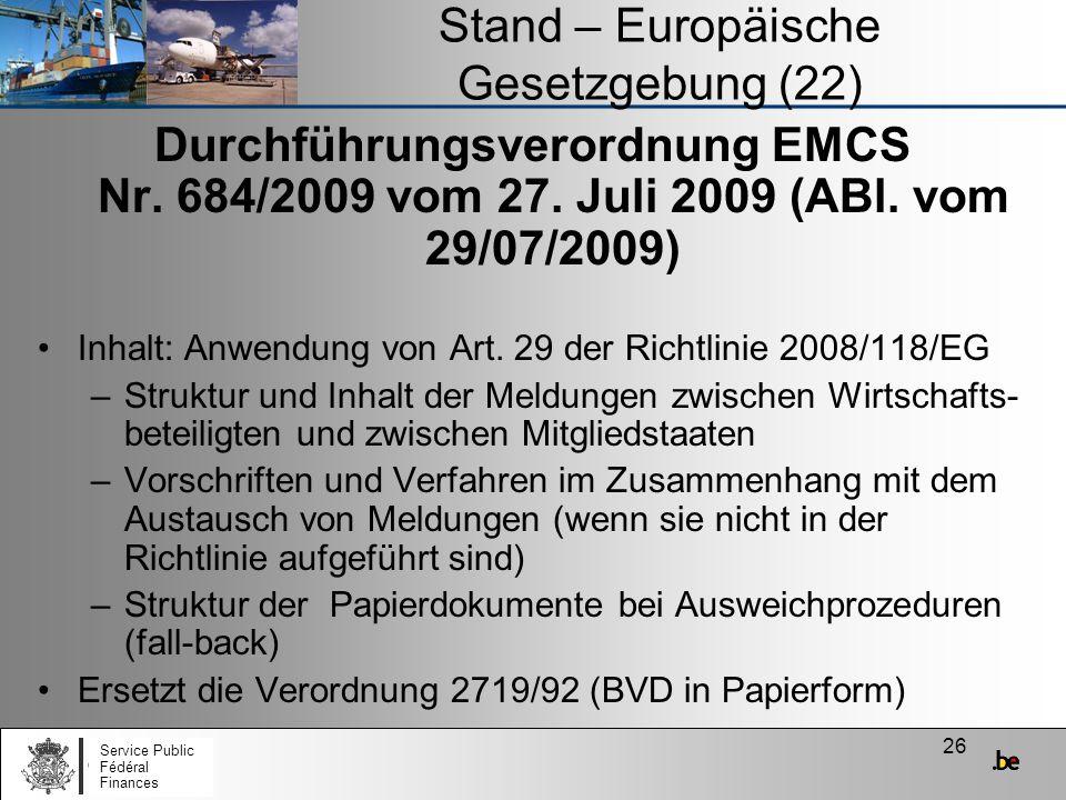 Stand – Europäische Gesetzgebung (22)