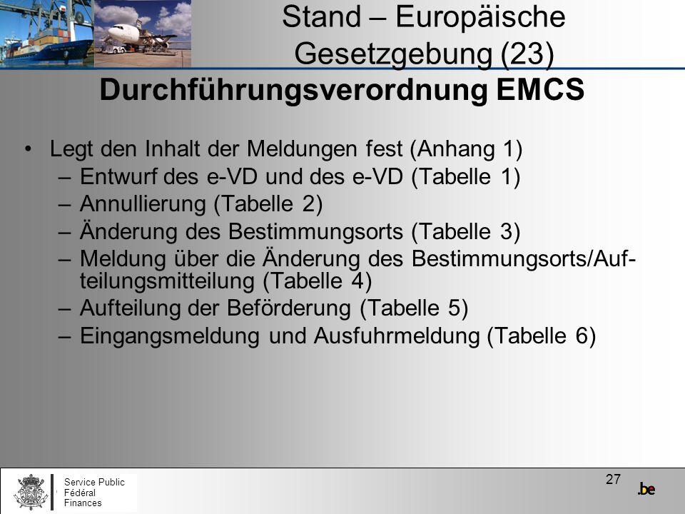 Stand – Europäische Gesetzgebung (23)