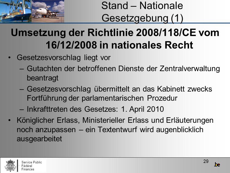 Stand – Nationale Gesetzgebung (1)