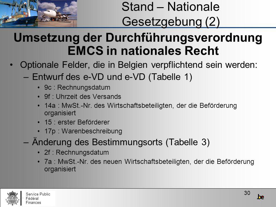 Stand – Nationale Gesetzgebung (2)