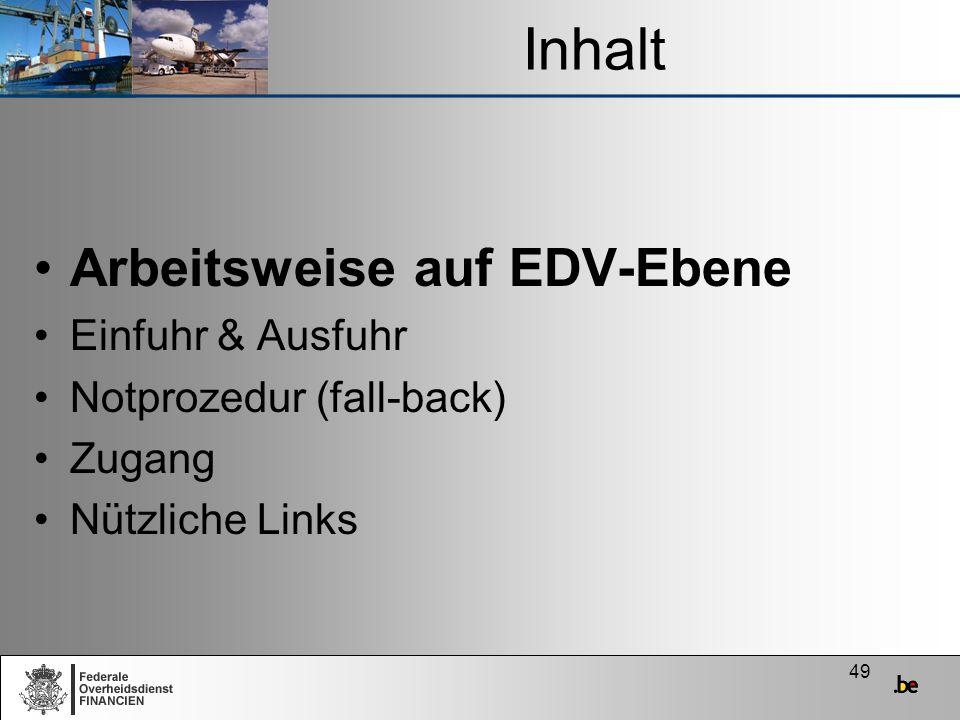 Inhalt Arbeitsweise auf EDV-Ebene Einfuhr & Ausfuhr