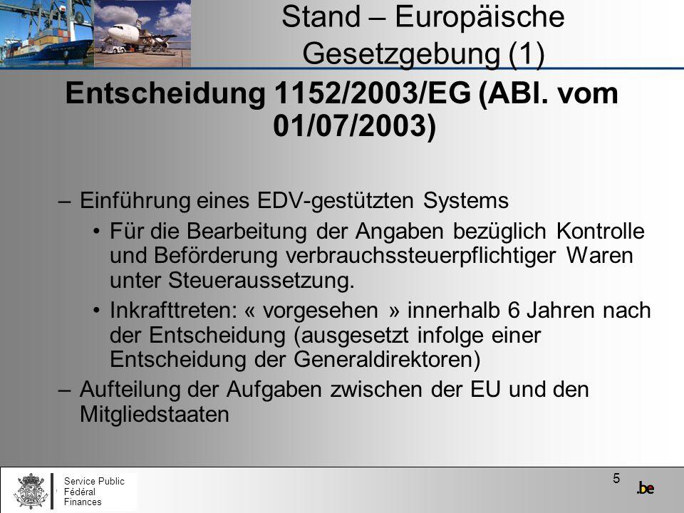Stand – Europäische Gesetzgebung (1)