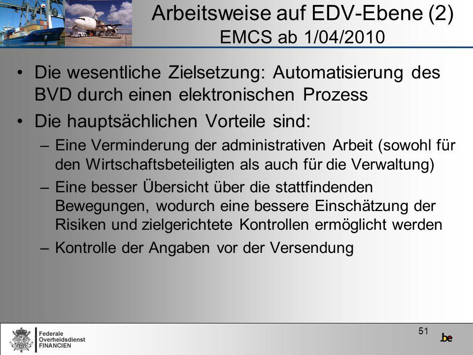 Arbeitsweise auf EDV-Ebene (2) EMCS ab 1/04/2010