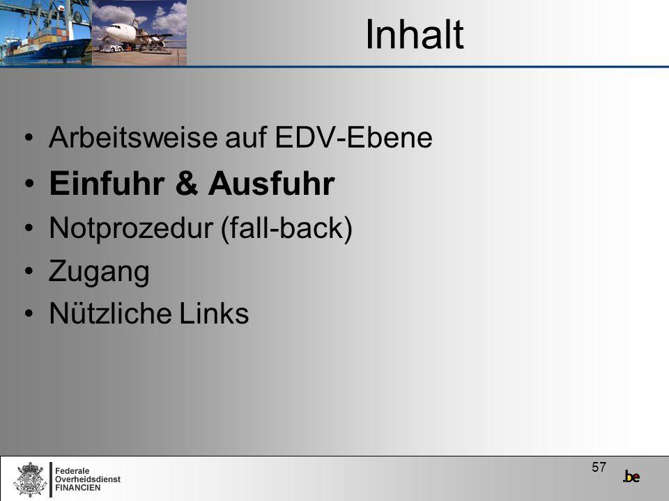 Inhalt Einfuhr & Ausfuhr Arbeitsweise auf EDV-Ebene