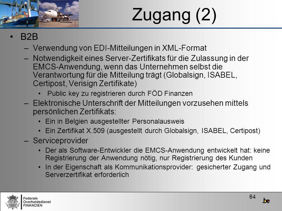 Zugang (2) B2B Verwendung von EDI-Mitteilungen in XML-Format