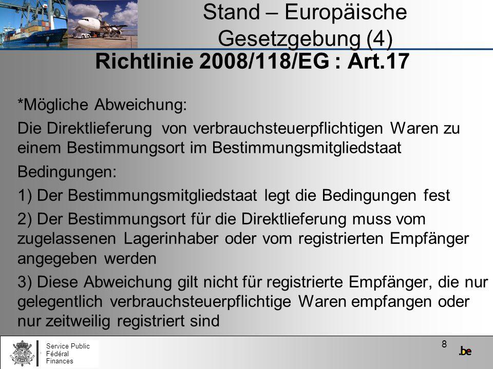 Stand – Europäische Gesetzgebung (4)