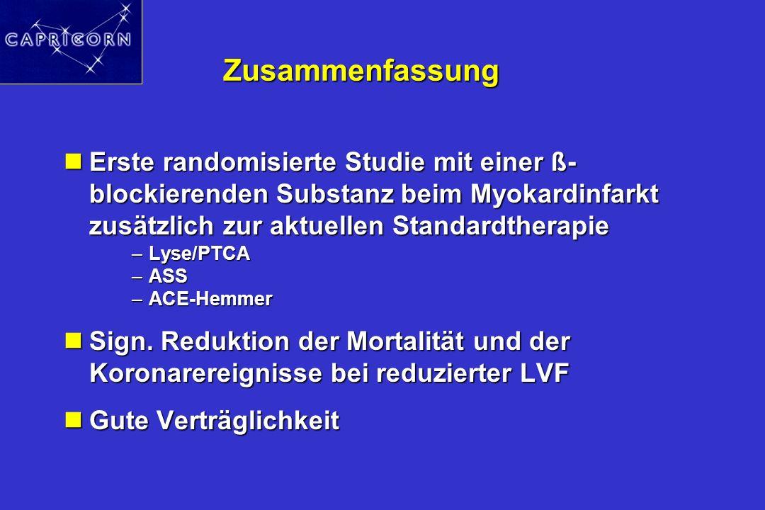 Zusammenfassung Erste randomisierte Studie mit einer ß-blockierenden Substanz beim Myokardinfarkt zusätzlich zur aktuellen Standardtherapie.