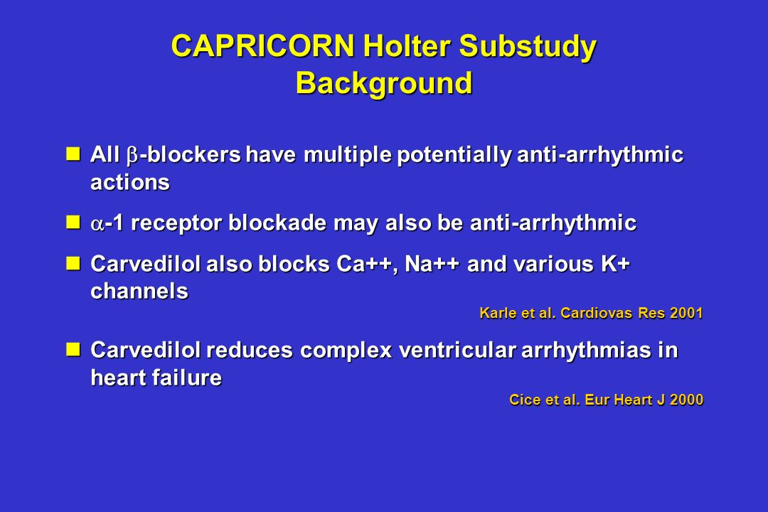 CAPRICORN Holter Substudy Background