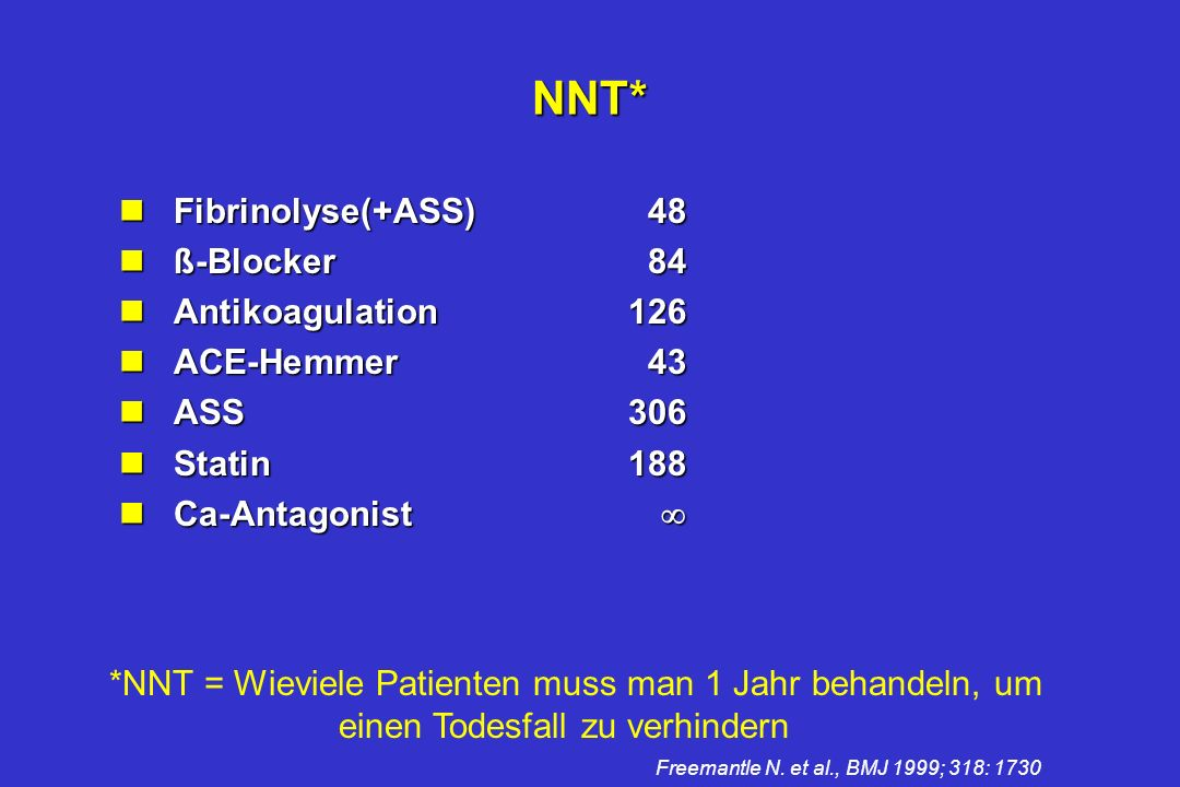 NNT* Fibrinolyse(+ASS) 48 ß-Blocker 84 Antikoagulation 126