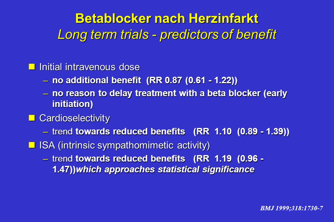 Betablocker nach Herzinfarkt Long term trials - predictors of benefit
