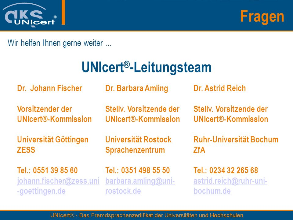 UNIcert®-Leitungsteam