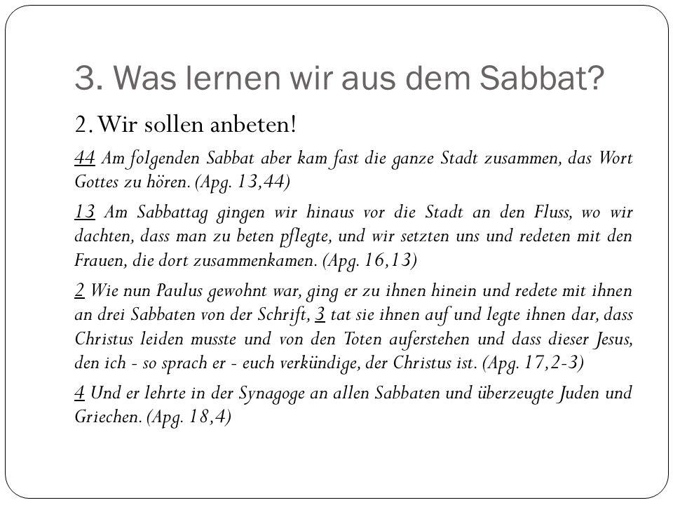 3. Was lernen wir aus dem Sabbat