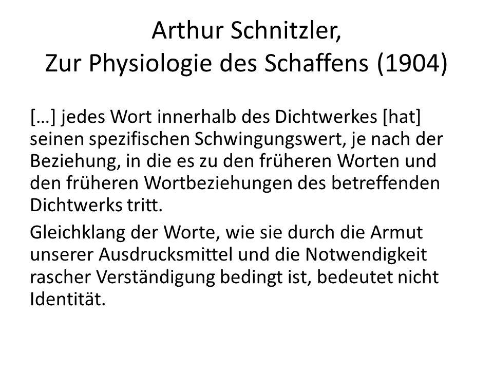 Arthur Schnitzler, Zur Physiologie des Schaffens (1904)