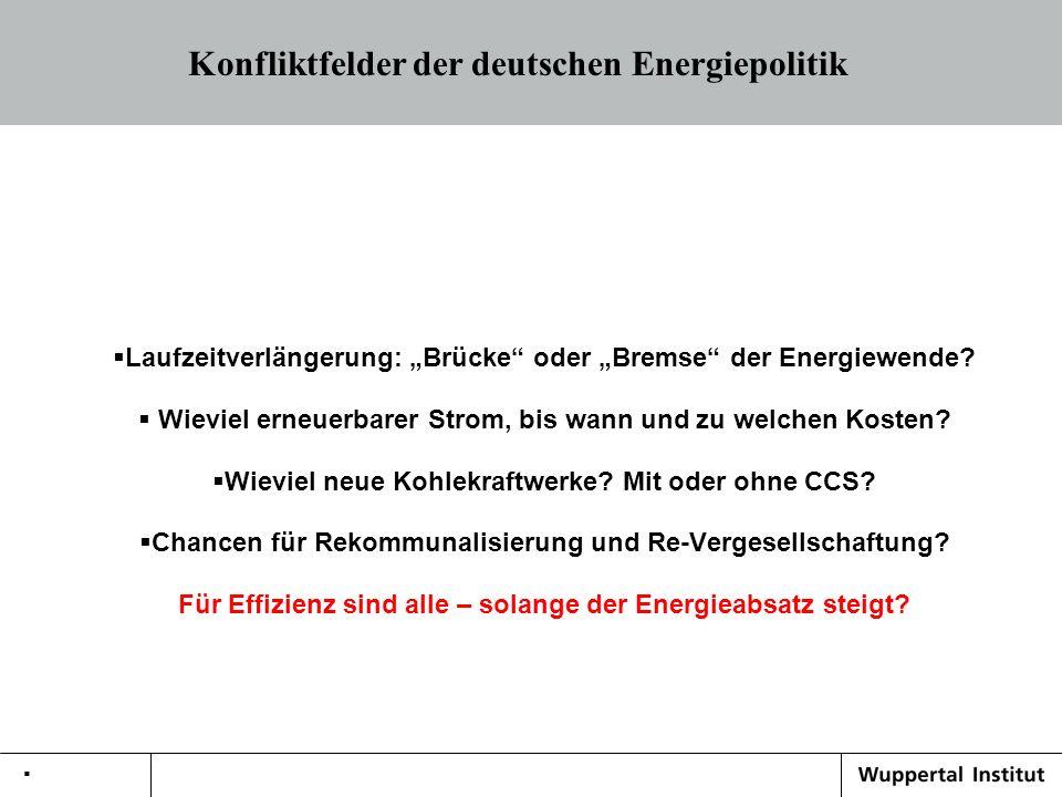 Konfliktfelder der deutschen Energiepolitik