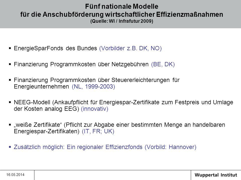 Fünf nationale Modelle für die Anschubförderung wirtschaftlicher Effizienzmaßnahmen (Quelle: WI / Infrafutur 2009)