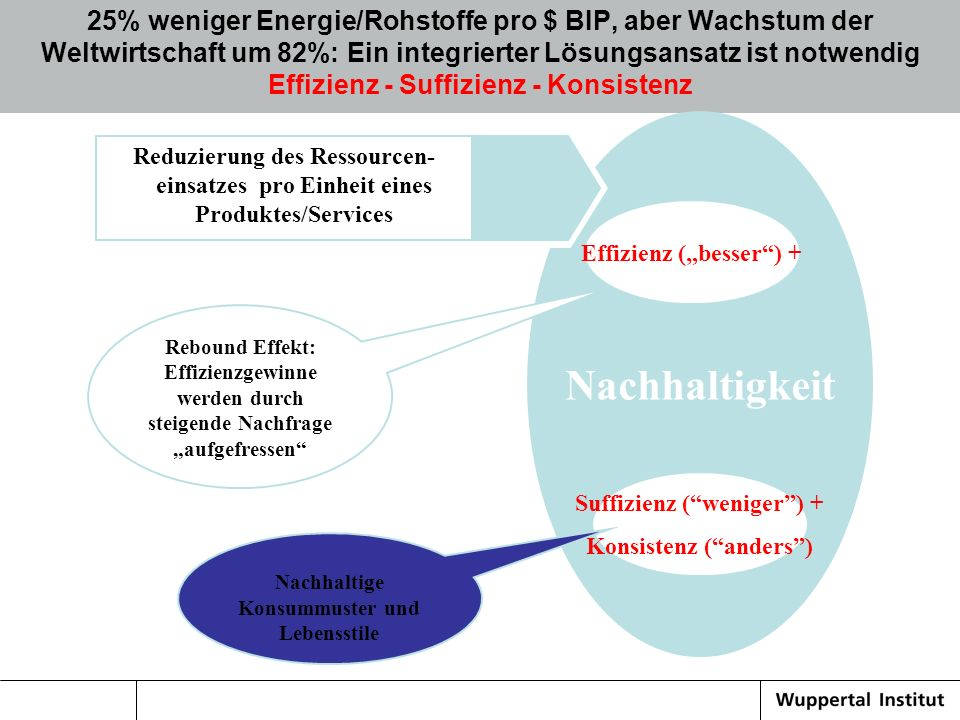 25% weniger Energie/Rohstoffe pro $ BIP, aber Wachstum der Weltwirtschaft um 82%: Ein integrierter Lösungsansatz ist notwendig Effizienz - Suffizienz - Konsistenz