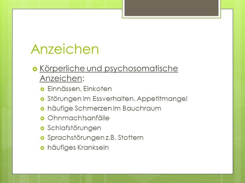 Anzeichen Körperliche und psychosomatische Anzeichen: