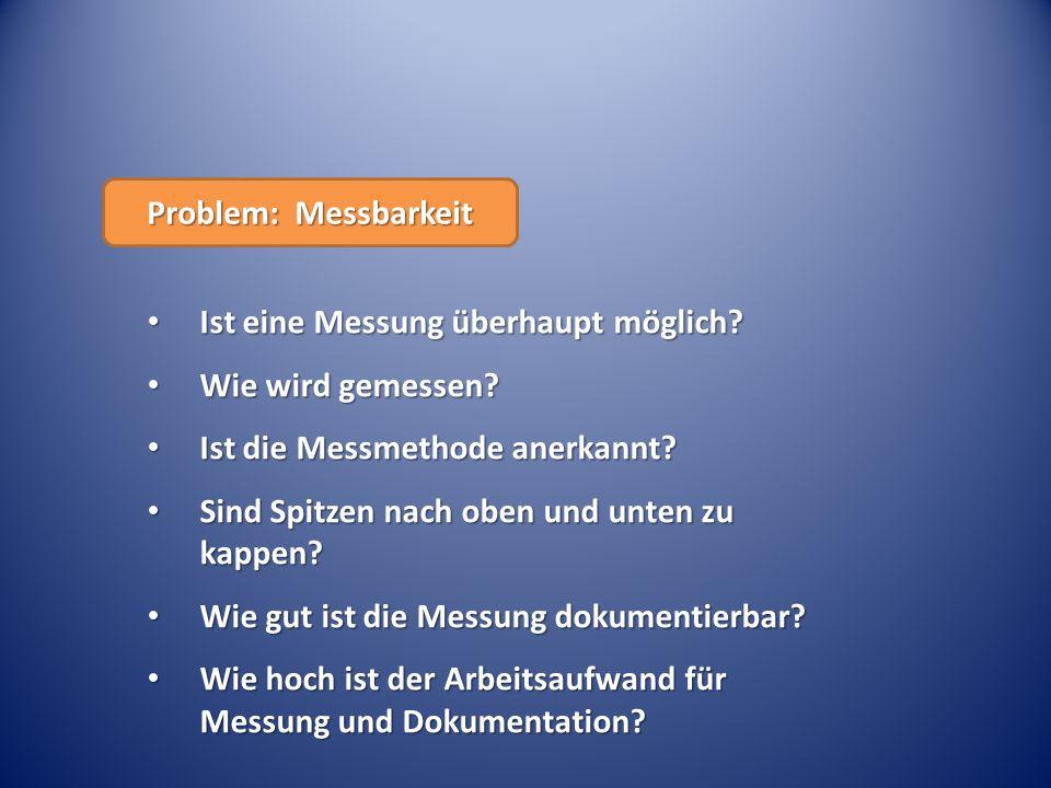 Problem: Messbarkeit Ist eine Messung überhaupt möglich Wie wird gemessen Ist die Messmethode anerkannt