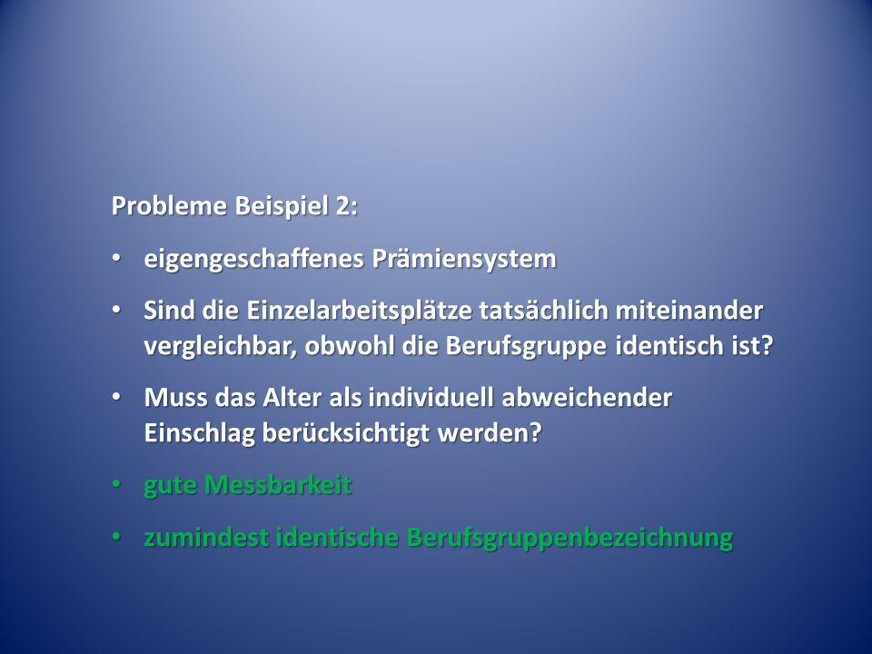 Probleme Beispiel 2: eigengeschaffenes Prämiensystem.