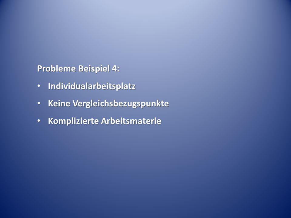 Probleme Beispiel 4: Individualarbeitsplatz. Keine Vergleichsbezugspunkte.