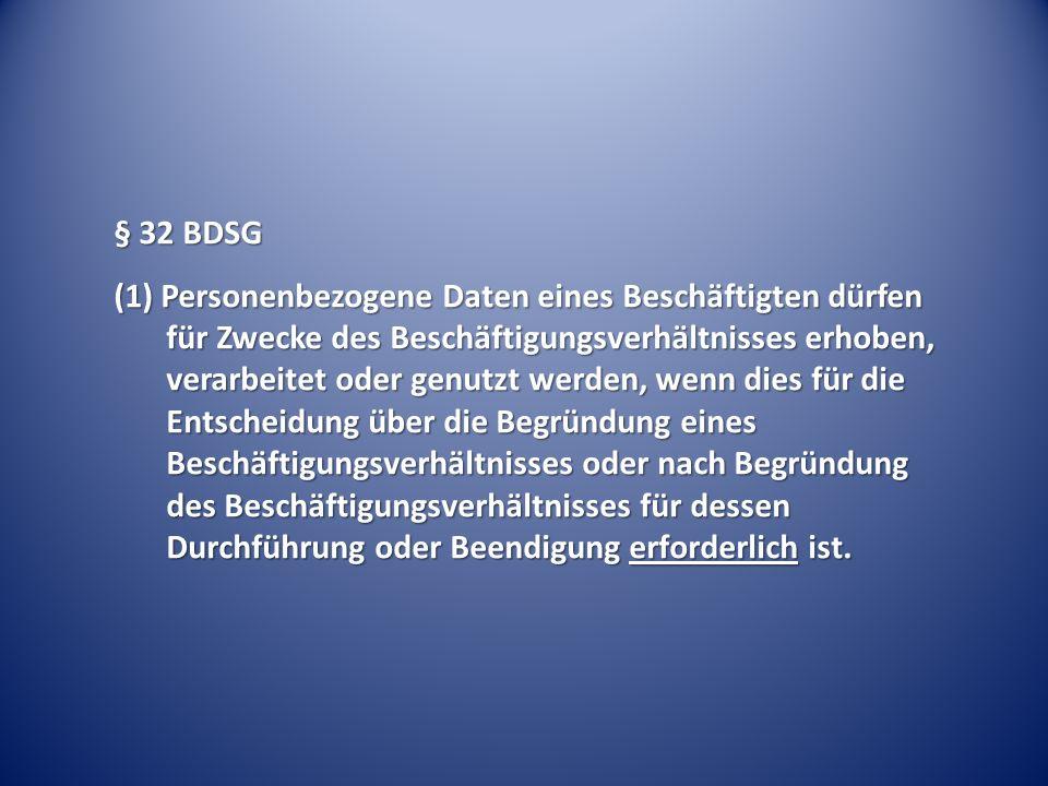 § 32 BDSG