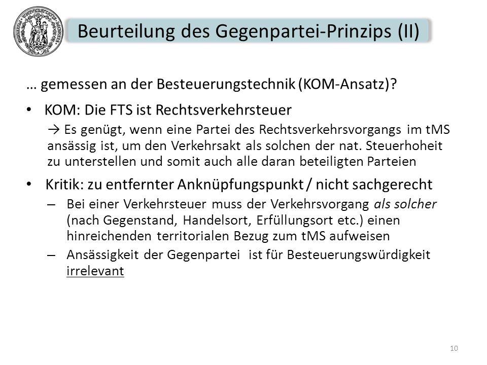 Beurteilung des Gegenpartei-Prinzips (II)
