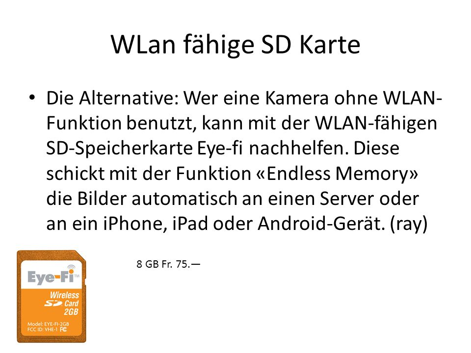 WLan fähige SD Karte