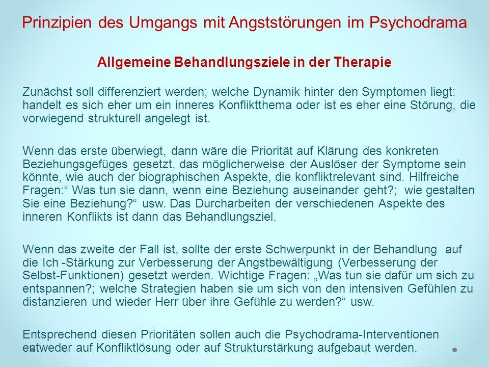 Prinzipien des Umgangs mit Angststörungen im Psychodrama Allgemeine Behandlungsziele in der Therapie
