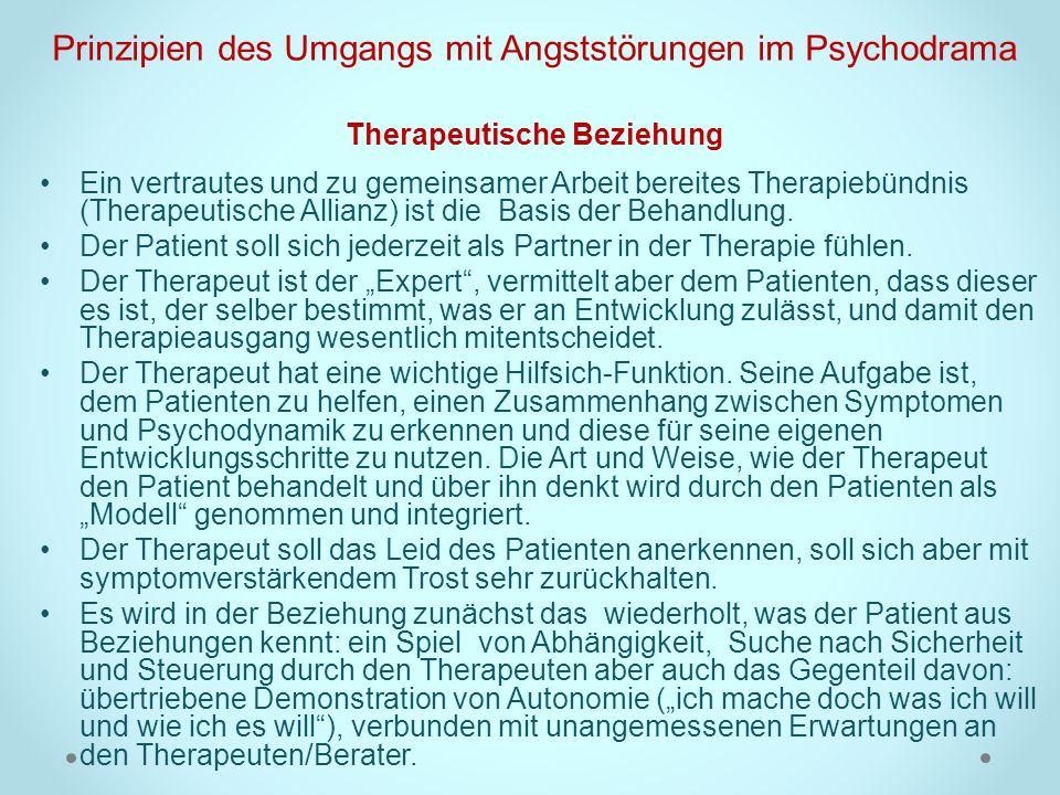 Prinzipien des Umgangs mit Angststörungen im Psychodrama Therapeutische Beziehung