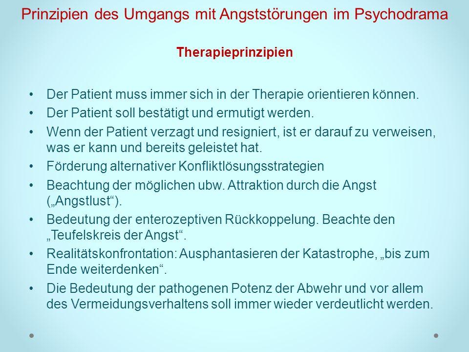 Prinzipien des Umgangs mit Angststörungen im Psychodrama Therapieprinzipien