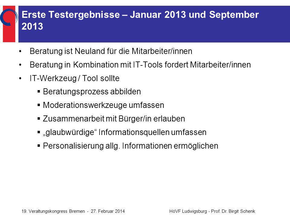 Erste Testergebnisse – Januar 2013 und September 2013