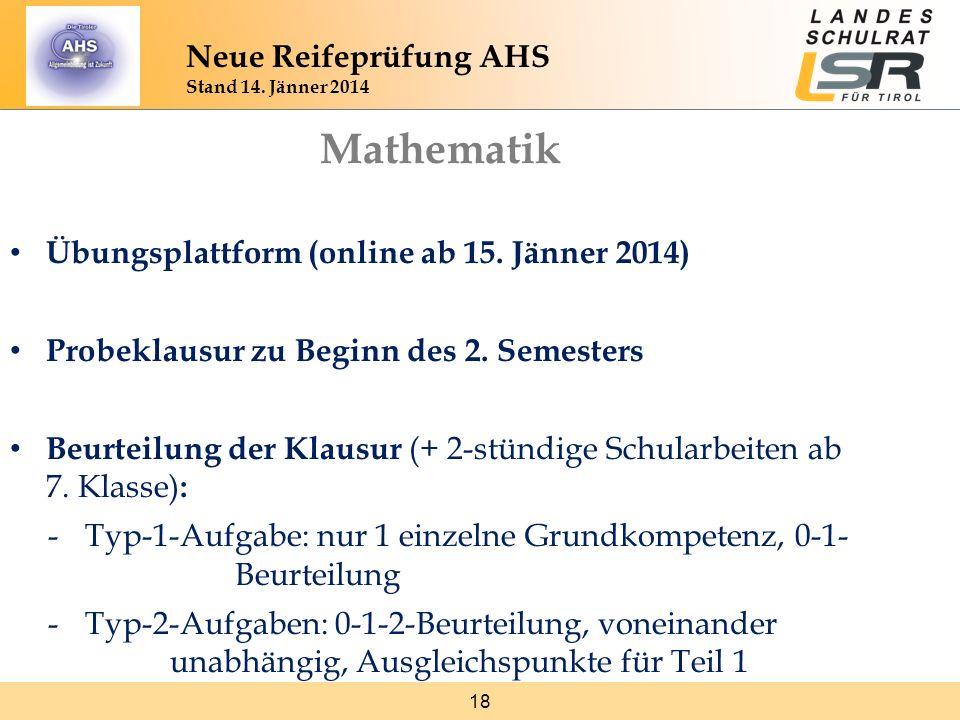 Mathematik Neue Reifeprüfung AHS Stand 14. Jänner 2014
