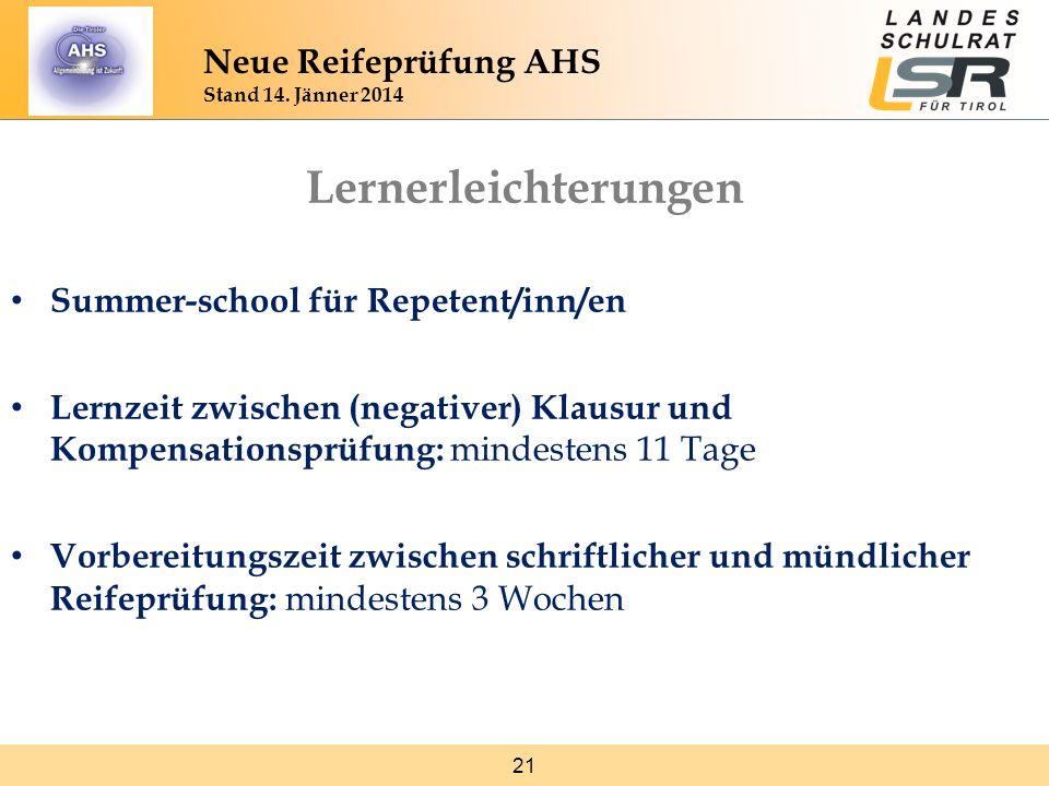 Lernerleichterungen Neue Reifeprüfung AHS Stand 14. Jänner 2014