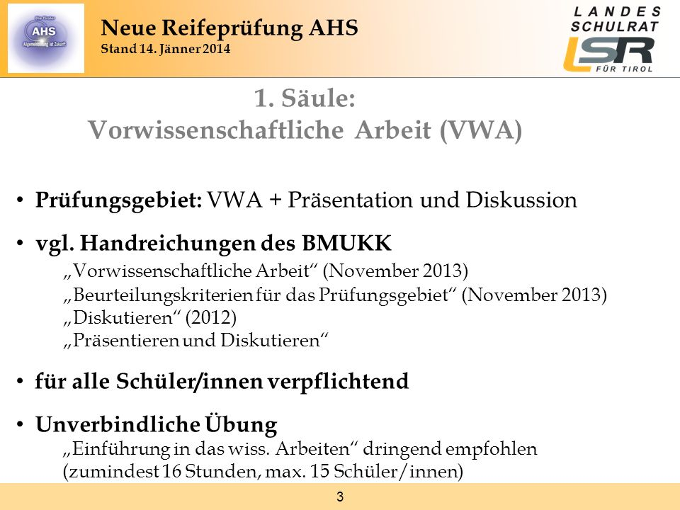 Neue Reifeprüfung AHS Stand 14. Jänner 2014