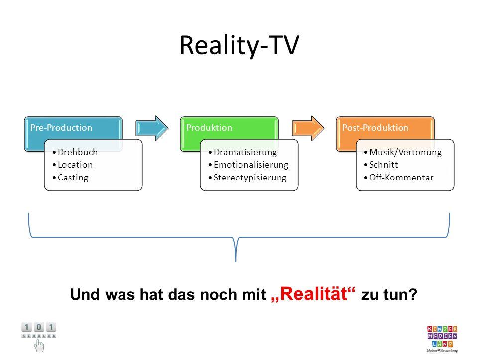 """Reality-TV Und was hat das noch mit """"Realität zu tun Pre-Production"""