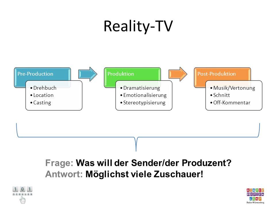 Reality-TV Frage: Was will der Sender/der Produzent