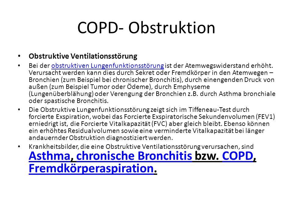 COPD- Obstruktion Obstruktive Ventilationsstörung