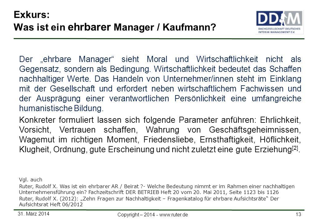 Exkurs: Was ist ein ehrbarer Manager / Kaufmann