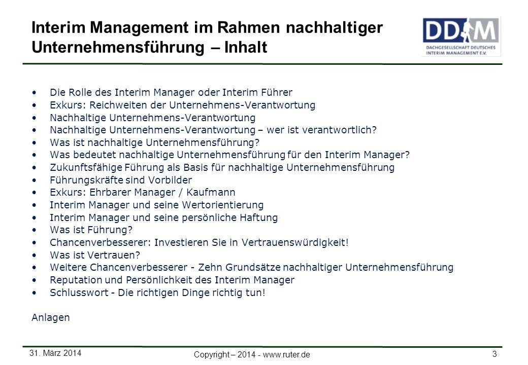 Interim Management im Rahmen nachhaltiger Unternehmensführung – Inhalt