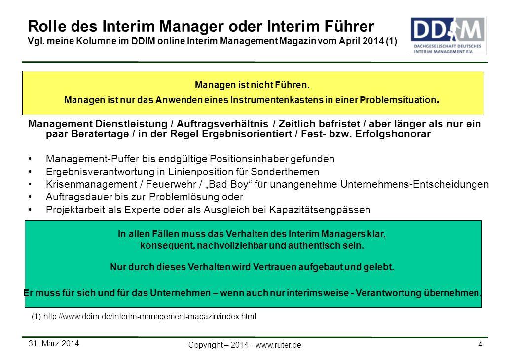 Rolle des Interim Manager oder Interim Führer Vgl