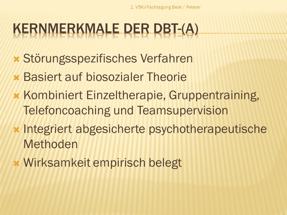 Kernmerkmale der DBT-(A)