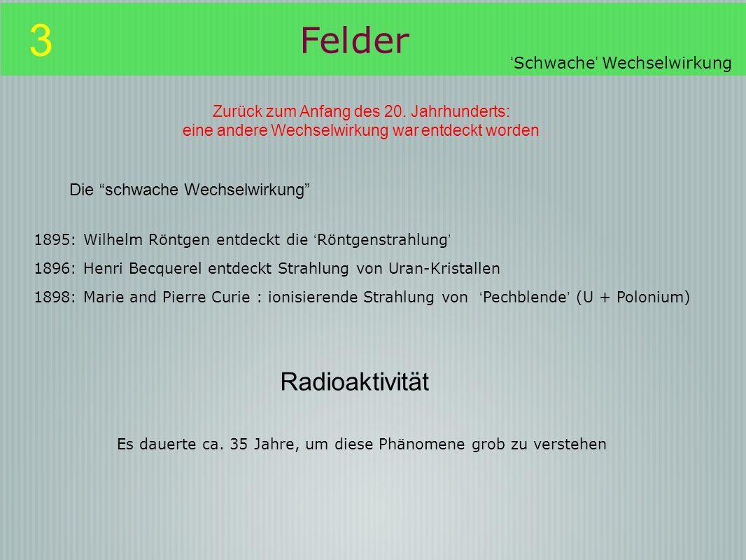 3 Felder Radioaktivität Die schwache Wechselwirkung