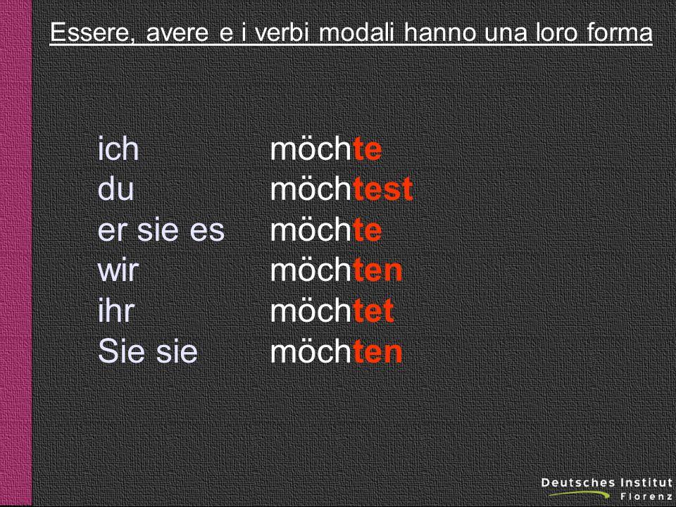 Essere, avere e i verbi modali hanno una loro forma
