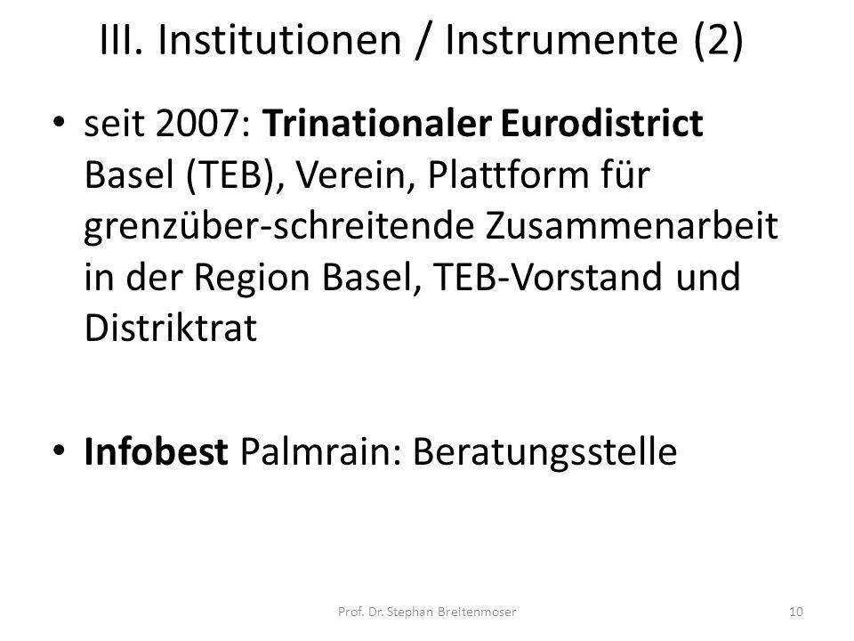 III. Institutionen / Instrumente (2)