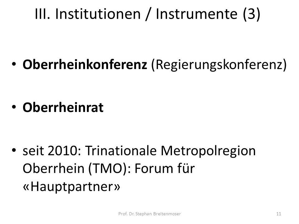 III. Institutionen / Instrumente (3)