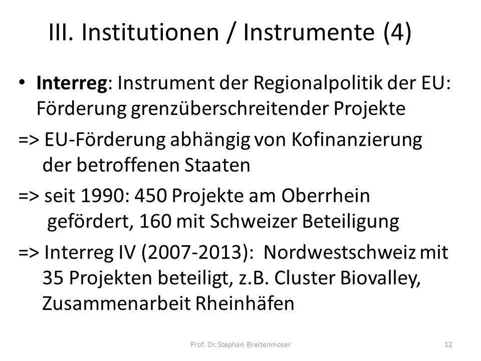 III. Institutionen / Instrumente (4)