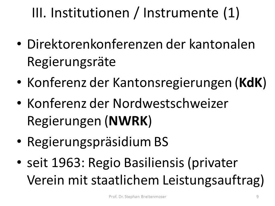 III. Institutionen / Instrumente (1)