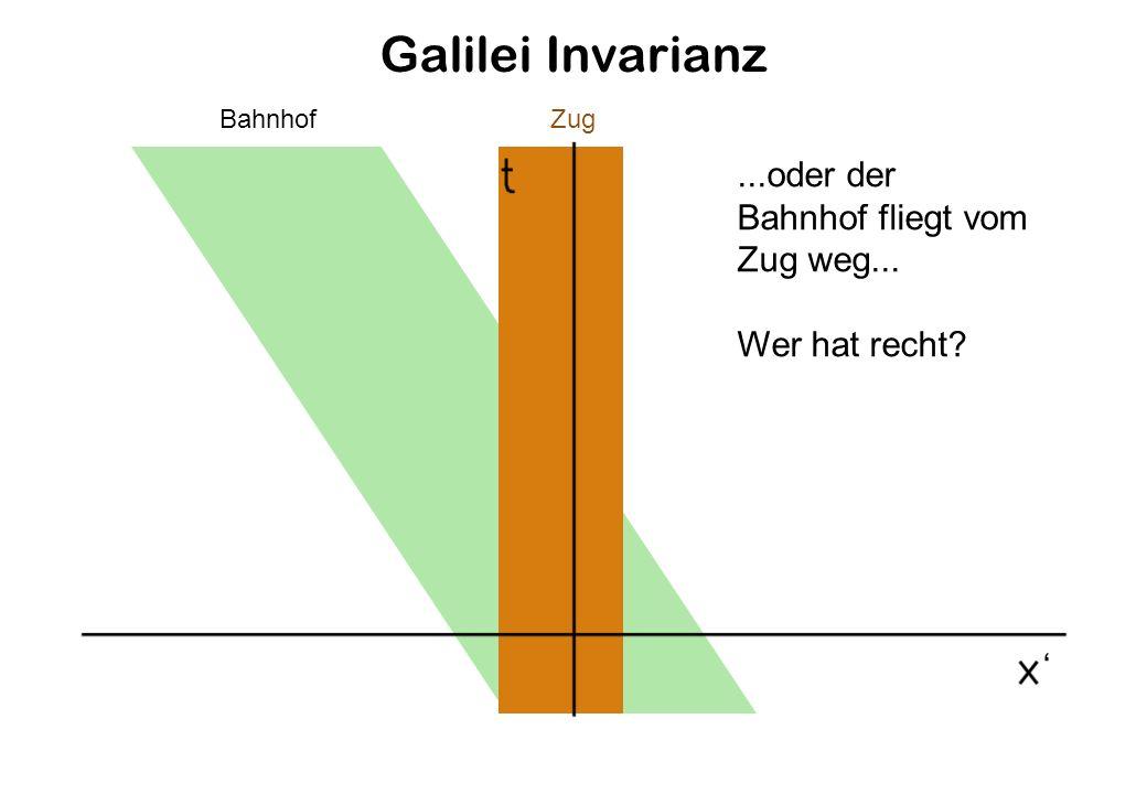 Galilei Invarianz ...oder der Bahnhof fliegt vom Zug weg...