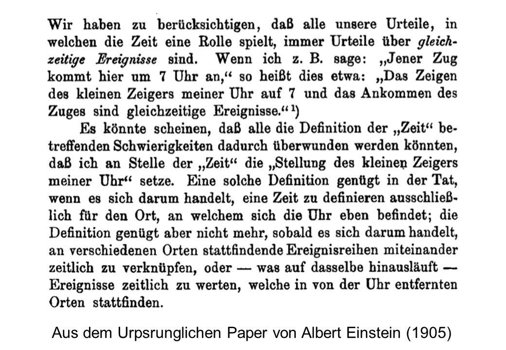 Aus dem Urpsrunglichen Paper von Albert Einstein (1905)